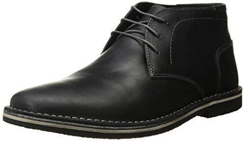 Steve Madden Men's Harken Boot, Black Leather, 8.5 W US