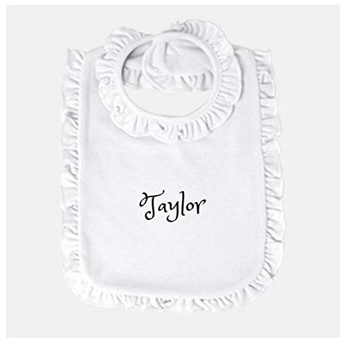 Personalized Baby bib Custom Monogram/Name Embroidered | Infant Bib Newborn Bib/Burp Cloth Baby Boy Bib Baby Girl Bib Perfect Baby Shower Present/Gift (White Ruffle) ()