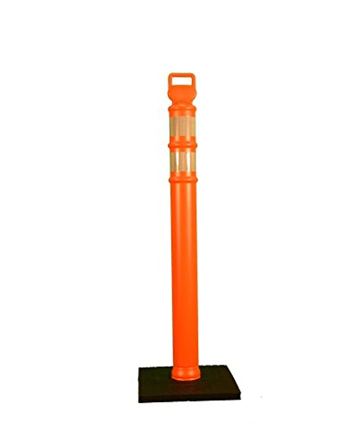 Cortina Safety Products 03-734RBC Delineator Post Flared 45'' with 2 Each 3'' HI Collars, 10# Rubber Base in Box by Cortina Safety