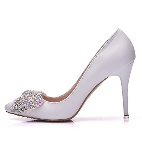 Uk Heel Cordones De Zapatos Con Y 9cm Formal color Heel White Lentejuelas Hhgold Tamaño Para 7 Fiesta Mujer afTRwAq
