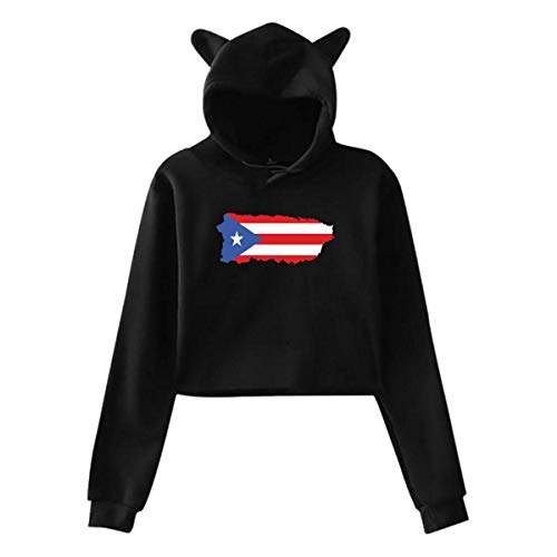 Hylionee6. Puerto Rico,Hoodie Cat Ear Sweater Exposed Navel Casual Hooded for Womens Sweatshirt Rabbit - Rico Sweater