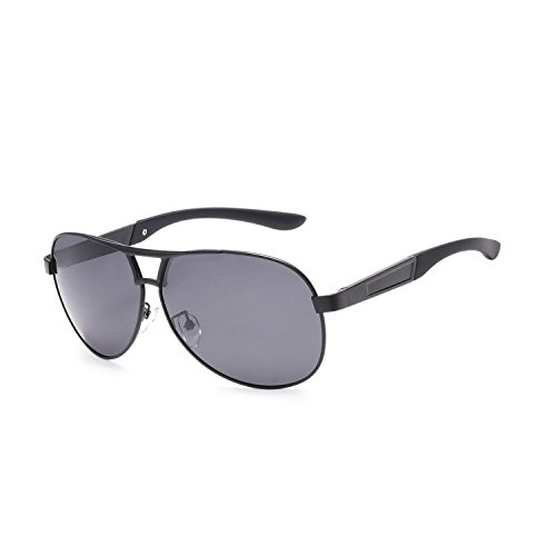 Price comparison product image Jaky Mens Best Polarized Sunglasses Unbreakable-metal New Fashion Driving Glasses Uv400 Protection Eyewear Black A6FK
