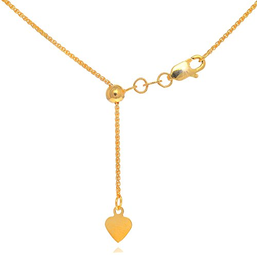 (JewelStop 10k Solid Yellow Gold 1 mm Extendable & Adjustable Spiga Wheat Chain, Lobster Claw - 22