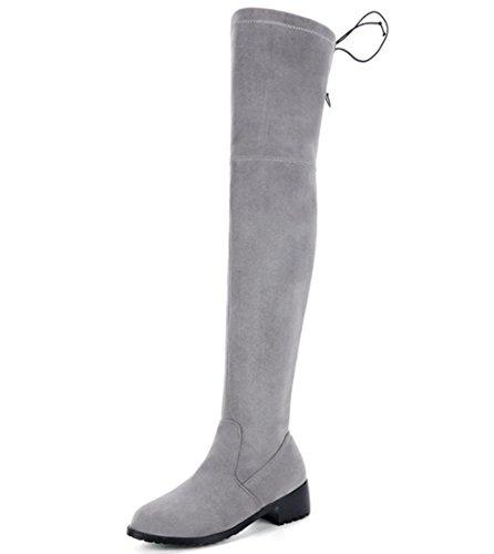KUKI Herbst und Winter Frauen Stiefel niedrigen Taille High Heels Stiefel Knie Stiefel große Größe Stiefel billig Stiefel grey