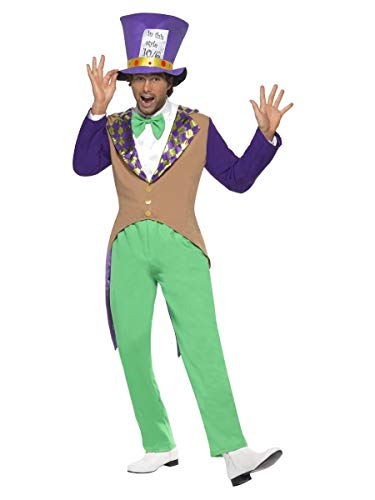 Smiffys Men's Mad Hatter Costume, pants, Jacket, Bow Tie and Hat, Wings and Wishes, Serious Fun, Size L, -