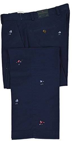 Mens Embroidered Pants - Brooks Brothers Mens Clark Fit Stretch Navy Blue Football Players Embroidered Pants (38x30)