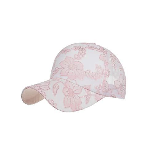 Sox Classic Baseball Keychain - Unisex Classic Cotton Lace Baseball Cap Outdoor Sunscreen Hat Adjustable Plain Baseball Cap Casquette de Baseball,Pink,China