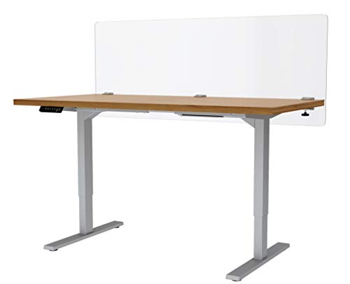 """VaRoom Privacy Partition, Frosted Acrylic Clamp-on Desk Divider – 60"""" W x 24""""H Privacy Desk Mounted Cubicle Panel by VaRoom (Image #1)"""