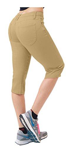 Women's Butt Lift Super Comfy Stretch Denim Capri Jeans Q43308 Khaki 15 - Khaki Capri Jeans