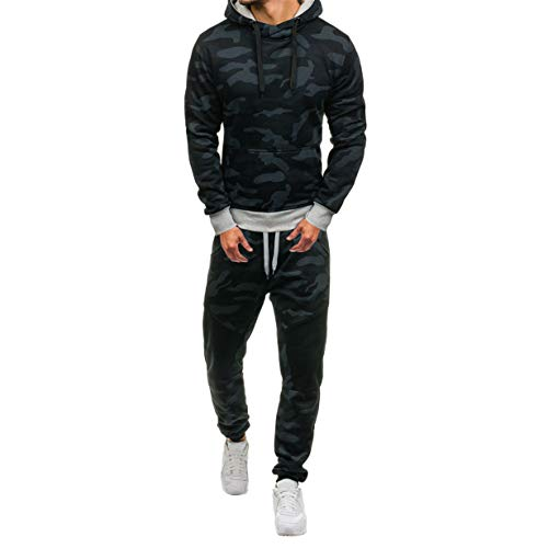 (Londony Vertical Sport Men's 2 Piece Camo Hoodied Sweatshirt & Pants Slim Fit Jogging Track Suit (L, A_ Black))