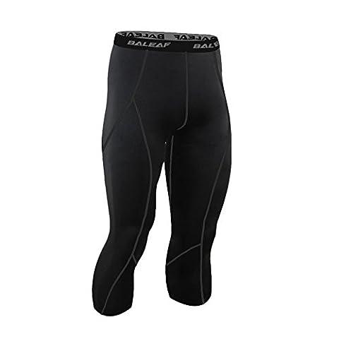 Baleaf Men's Running Workout Tight 3/4 Compression Leggings Black Size M