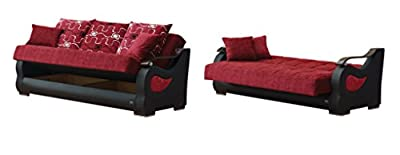 Empire Furniture USA Illinois Collection Convertible Sofa Bed with Storage Space and Includes 2 Pillows
