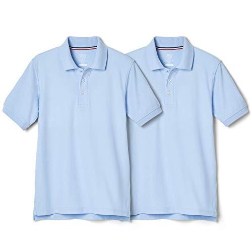 - French Toast Boys' Big 2-Pack Short Sleeve Pique Polo Shirt, Light Blue, XL (14/16)