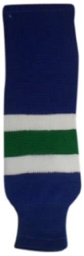 DoGree Hockey Vancouver Canucks Knit Hockey Socks, Navy/White/Green, Youth/20-Inch