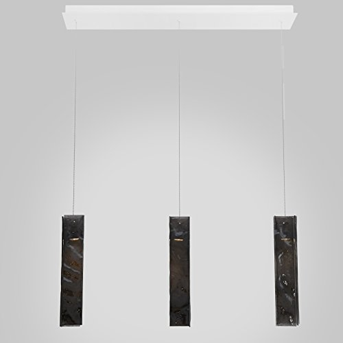 - 3 Black Long Pendants Drops Led Rectangular Bar. Powder Coated Metal in Flat White/Sparkle Silver. Handmade by AM Studio