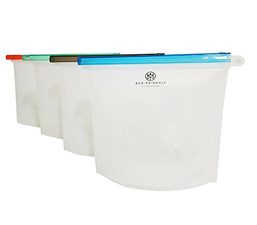 Reusable Silicone Food Storage Bag -Plastic Bag Alternative, Bag For Cooking, Sous Vide, Freezing, Lunch Snack Bag, Sandwich Bag, Airtight Zip Seal Bags (4 Pack) - By ECO-Friendly Kitchenware