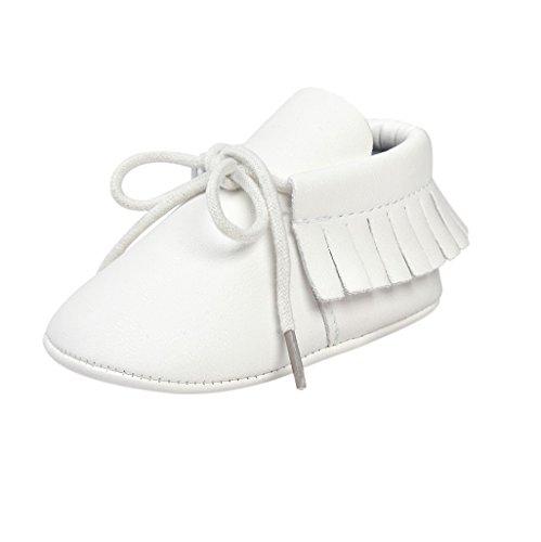 Baby Schuhe Auxma Baby Soft Sohle Anti-Rutsch Quasten Prewalker Schuhe Erste Walking Schuhe Für 3-6 6-12 12-18 Monat (3-6 M, Dunkelbraun) Weiß