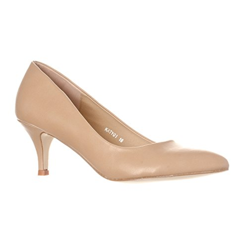 Riverberry Women's Katy Pointed, Closed Toe Low, Kitten Heel Pumps, Taupe PU, 10 ()
