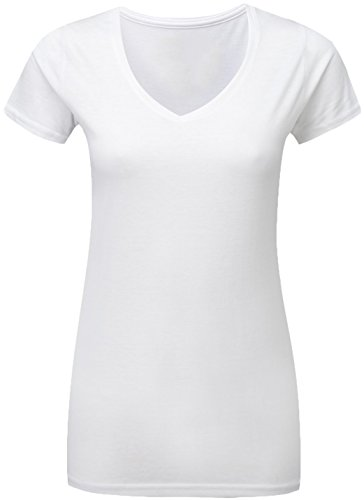 Women's V Neck Short Sleeve Cotton Blend Basic T-Shirt (White, ()