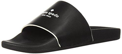 Women's Summer Slide Sandal, Black Leather, 6 Medium US (Summer Spades)