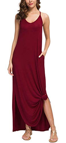 Summer Maxi Dresses with Pockets Split Beach Cover Up Loose Casual Long Cami Dresses Plus Size (S, Red Wine 2)