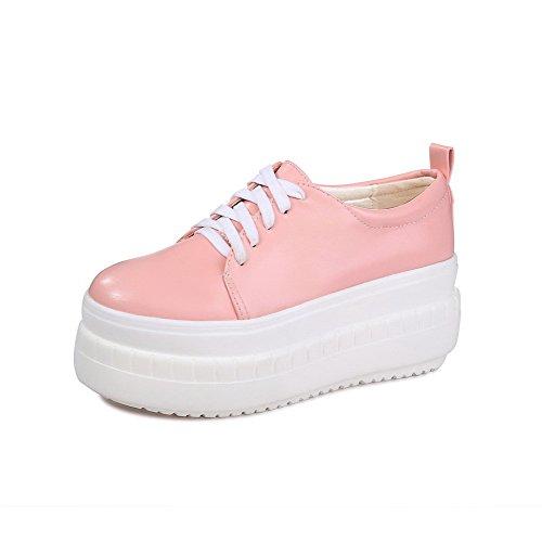 AgooLar Damen Weiches Material Rund Zehe Hoher Absatz Schnüren Rein Pumps Schuhe Pink