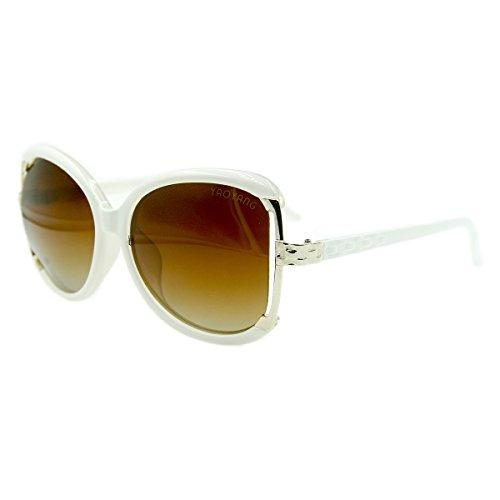 Vhccirt Fashion Women Sunglasses Brown Oversize Oval Polarized Lens Metal White Frame Semi-Rimless - Rimmed Sunglasses White