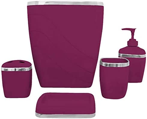 Amazon Com Burgundy Bathroom Acessories Set Gold Trimmed 5 Pc Home Kitchen