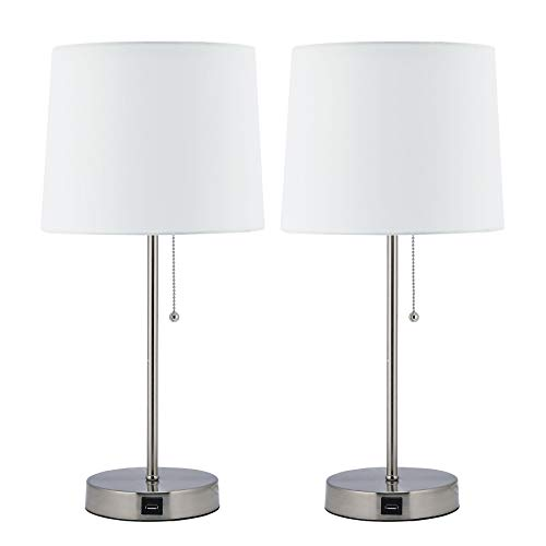 CO-Z White Table Lamp with USB Charger Set of 2, Modern Metal Desk Lamp in Brushed Nickel Finish, 21