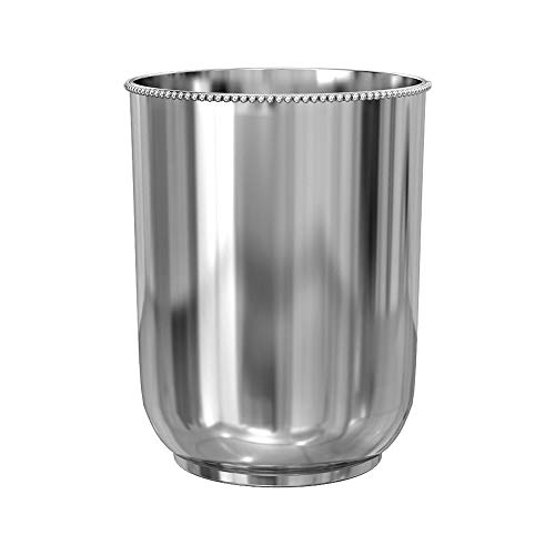 nu steel CHC8H 18/8 Stainless Steel Chic Collection Beaded Wastebasket, Round Vintage Trash Can for Bathroom, Bedroom, Dorm, College, Office, 8
