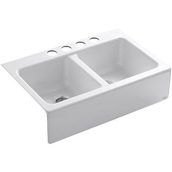 KOHLER K-6534-4U-0 Hawthorne Apron-Front, Undercounter Kitchen Sink, White