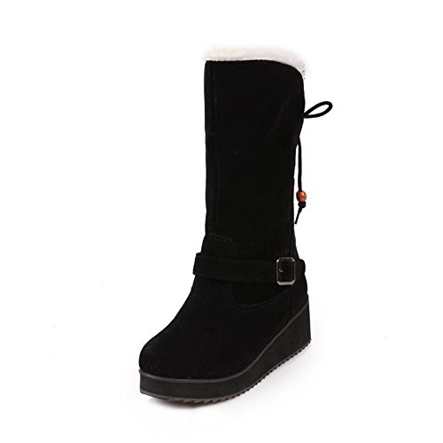 Women's Round Closed Toe Kitten-Heels Frosted Low-Top Solid Boots