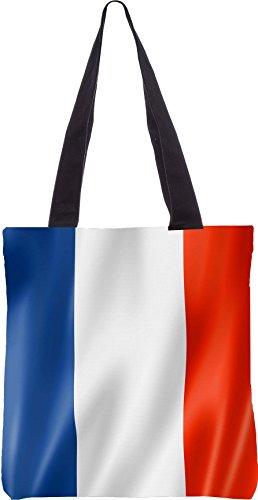 Snoogg Französisch Flagge 2983 13,5 x 15 Zoll-Shopping-Dienstprogramm-Einkaufstasche aus Polyester-Segeltuch gemacht