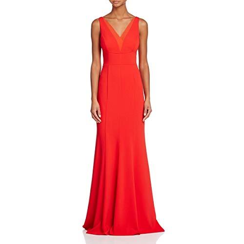 Carmen Marc Valvo Infusion Women's Deep V Neck Gown, Cherry, 12 (Carmen Marc Valvo Wedding)