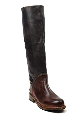 Tall Leather Motorcycle - bed stu Women's Manchester Motorcycle Boot, Black Rustic/Teak Rustic, 8.5 M US