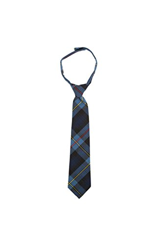 French Toast Boys' Adjustable Plaid 8-12 Size Tie, Blue/Red Plaid, One (Polyester Plaid Tie)