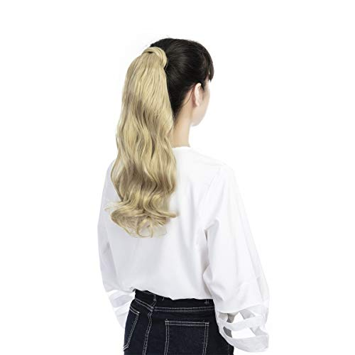 FUT Wrap Around Ponytail One Piece Clip In Curly Pony TIAL Hair Extensions 18inch 90g For Girl Lady Women Ash Blonde Mix Bleach Blonde