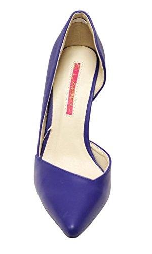 C Etichetta Liberty-1 Donna Punta A Punta Stiletto Tacco Alto Disegno Di Ritaglio Speciale Vamp Pu Slip On Pumps Scarpe Blu