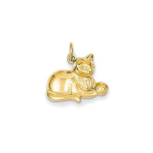 14k Gold Cat Charm Pendant (0.71 in x 0.71 in)
