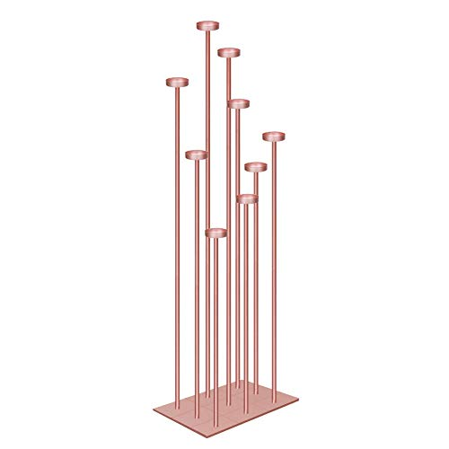 smtyle DIY 9 Candelabra Floor 70 inch Tall Candle Holders Centerpiece for Tealight Set Wedding Decor Large with Rose Gold Iron ()