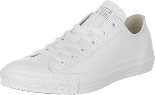 Converse Unisex Chuck Taylor All Star Ox White Basketball Shoe 9.5 Men US / 11.5 Women - Canvas Sneakers Leather