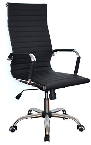 Classic Replica High Back Ribbed Ergonomic Office Wheels Chair Leather Swivel & Tilt Adjustable Manager Executive Black Chair for Management Boss Office Conference Boardroom Work Task Computer