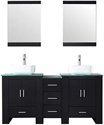 Sliverylake Black 60 inch Bathroom Vanity Cabinet w mirror Double Vessel Sink Square Ceramic Vessel Sink and Faucet Combo