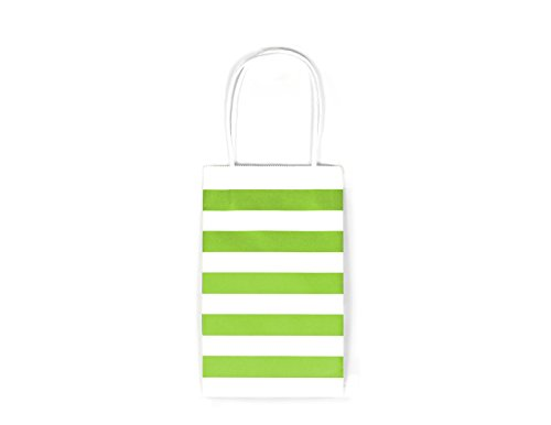 12CT SMALL LIME GREEN STRIPE BIODEGRADABLE, FOOD SAFE INK & PAPER KRAFT BAG WITH WHITE STURDY HANDLE (Small, Lime Green)