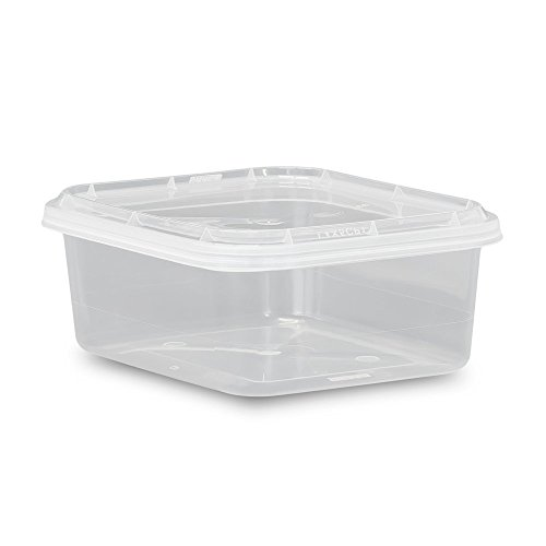8 oz. Food Grade 4 x 5 Rectangular Container with Lid - Clarified - 10 Pack