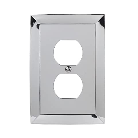 Allen + Roth Single Duplex Cover Decorator Polished Chrome 74383 (Allen Roth Covers)