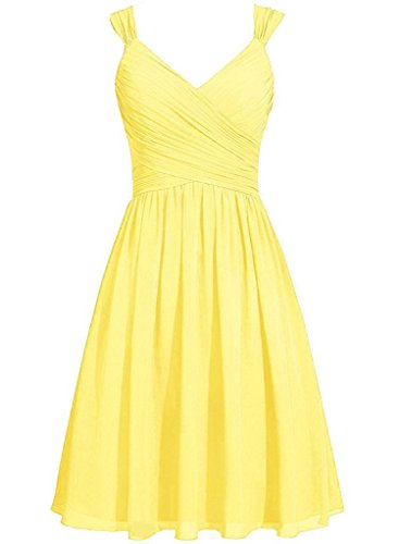 Womens ASBridal Neck V Dress Prom Chiffon Bridesmaid Yellow Homecoming Strap Evening Short dq1gpwxq6