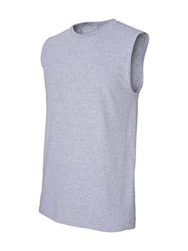 (Gildan Men's Ultra Cotton Double Needle Sleeveless T-Shirt, Large, Sport Grey)