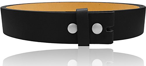 LUNA Premium Basic Genuine Leather Stitching Belt Strap - Black - 3X Large Photo #3