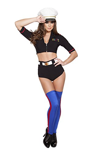 Roma Costume Women's 3 Piece Navy Yard Mistress, Black, Small